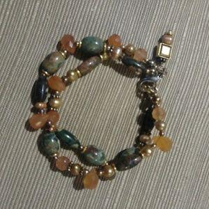 Jewelry - 2 Strand Jade & Amber Stone Beaded Bracelet